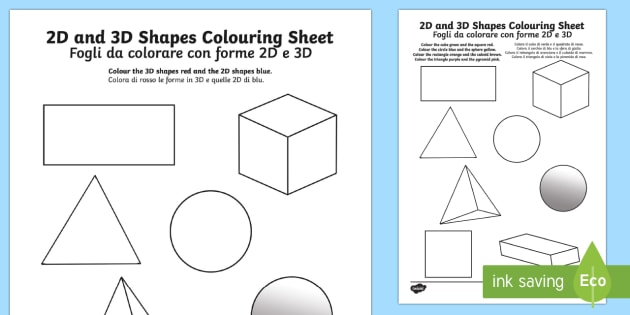 2d and 3d shapes colouring sheets english italian 2d and 3d. Black Bedroom Furniture Sets. Home Design Ideas