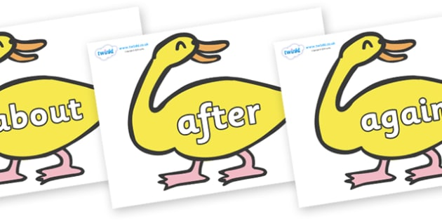 KS1 Keywords on Yellow Duck to Support Teaching on Brown Bear, Brown Bear - KS1, CLL, Communication language and literacy, Display, Key words, high frequency words, foundation stage literacy, DfES Letters and Sounds, Letters and Sounds, spelling