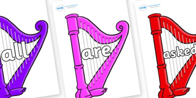 Tricky Words on Harps - Tricky words, DfES Letters and Sounds, Letters and sounds, display, words