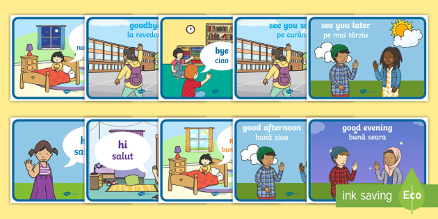 English In Italian: English Greetings Display Poster