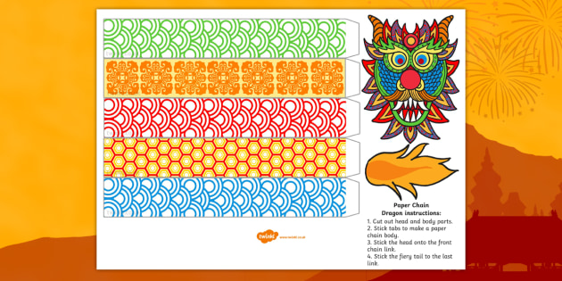 Chinese New Year Paper Chain Craft Dragon Chinese New Year