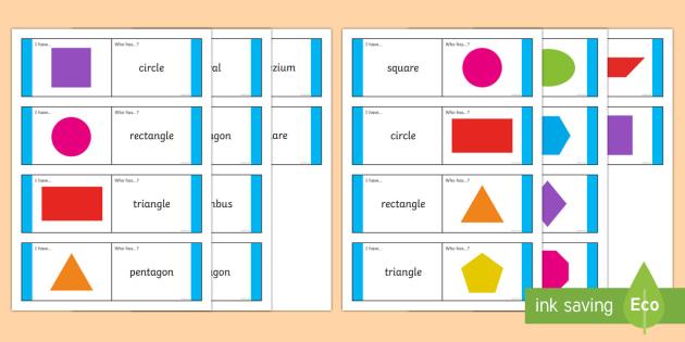 2D Shape to Word Loop Cards - Maths Shape loop cards, loop cards, 2D shape, shapes