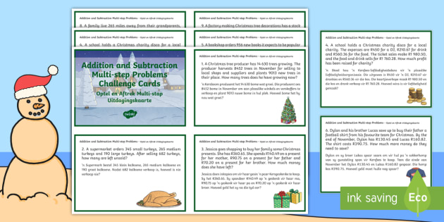 Christmas-Themed Addition and Subtraction Multi-step Word
