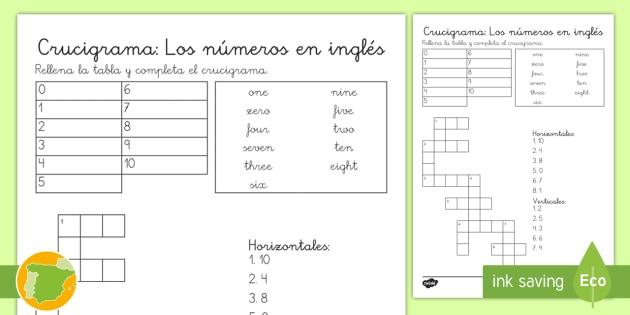 a1 crucigrama los nmeros en ingls numbers lengua extranjera english crossword