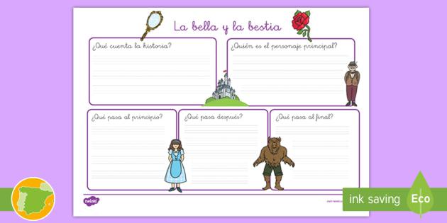 Ficha de actividad: La bella y la bestia - cuentos, escritura, beauty, beast, rosa, espejo, pautas, niños, colegios, imaginación, recursos, m