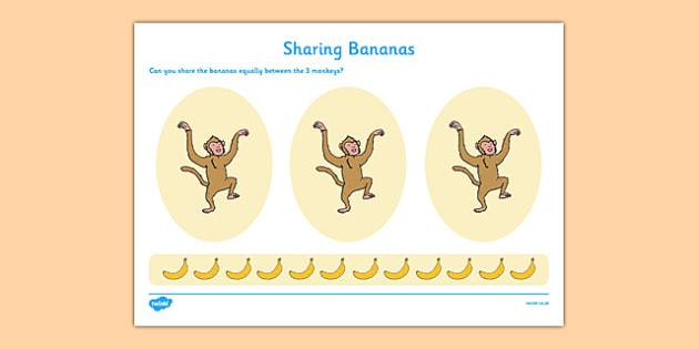 Sharing Bananas Worksheet / Activity Sheet - cfe, scotland, assessment, curriculum, assessment, eyfs, early years, early level, maths, measure, share, divide, worksheet