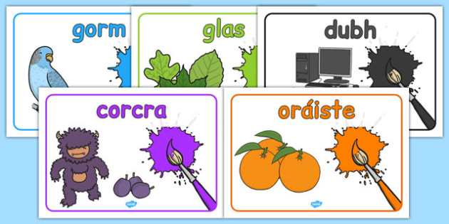 Colours Posters Gaeilge - gaeilge, colours, posters, display posters