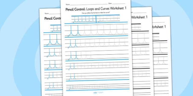Pencil Control Loops And Curves Worksheet 1 - pencil control