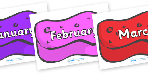 Months of the Year on Sponges (Multicolour) - Months of the Year, Months poster, Months display, display, poster, frieze, Months, month, January, February, March, April, May, June, July, August, September