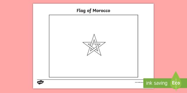 NEW Morocco Flag Colouring Sheet