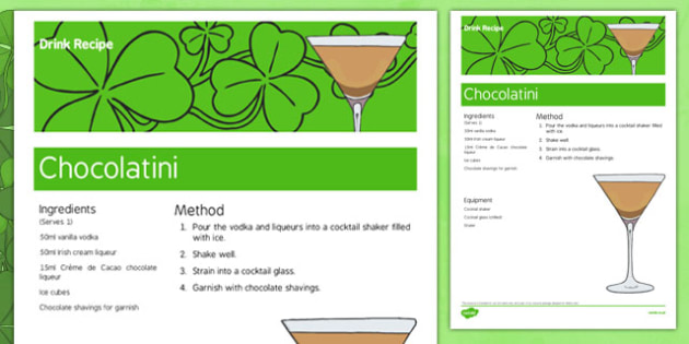 Elderly Care St. Patrick's Day Alcoholic Drink Recipe - Elderly, Reminiscence, Care Homes, St. Patrick's Day, memory, remember