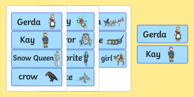 The Snow Queen Word Cards - traditional, words, literacy, card
