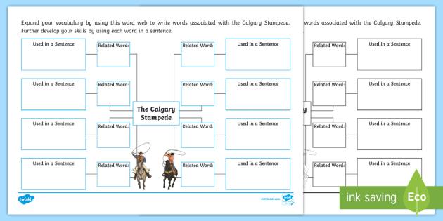 Calgary Stampede Word Web Activity Sheet - Calgary Stampede Resources, word web, related word, sentence, associate, synonym.