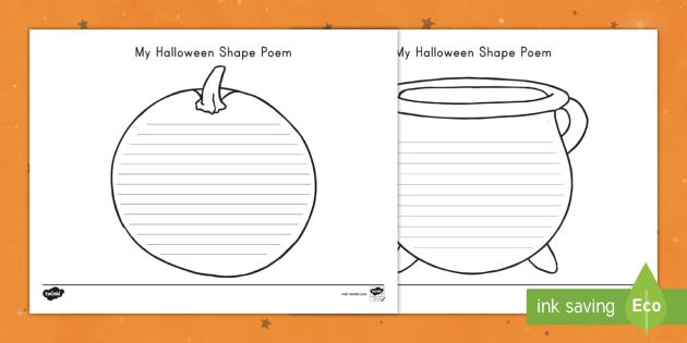 halloween shape poetry writing template halloween poem
