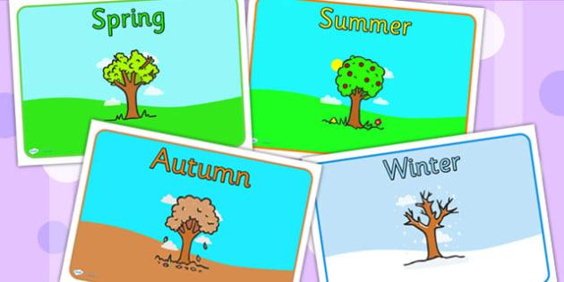 Editable Class Group Signs Four Seasons - group signs, seasons