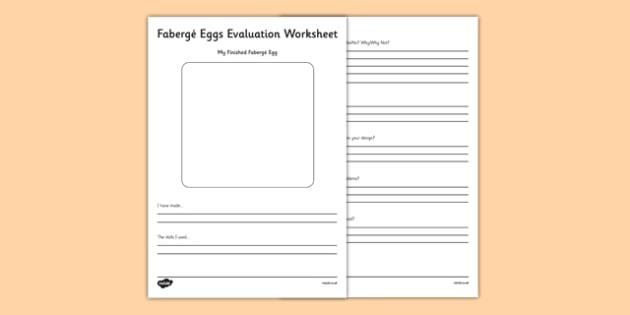 Fabergé Eggs Evaluation Worksheet / Activity Sheet - Faberge, egg, russia, tsar, evaluation , worksheet