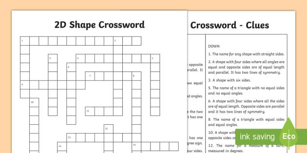 2d Shape Crossword Worksheet Worksheet Maths