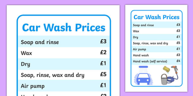 Car Wash Role Play Price List - roleplay, props, prices, maths