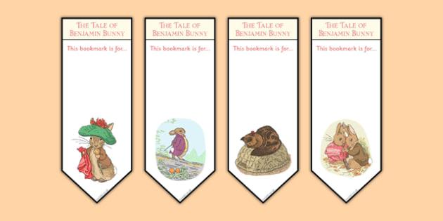 Beatrix Potter - The Tale of Benjamin Bunny Editable Bookmarks - beatrix potter, benjamin bunny