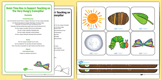 Quiet Time Box to Support Teaching on The Very Hungry Caterpillar - EYFS, Life Cycle, Butterfly, caterpillars, growing, change, growth, activities