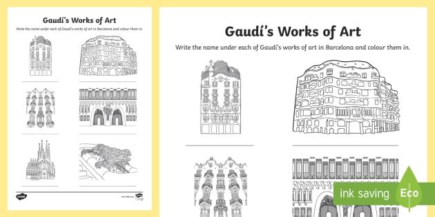 gaud 39 s works of art worksheet activity sheet art. Black Bedroom Furniture Sets. Home Design Ideas