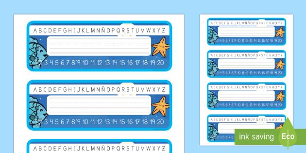 Etiquetas de mesa: El pez arcoiris - Bajo el mar, proyecto, silla, identificación, recta numérica, recta alfabética, nombre,Spanish - Bajo el mar, proyecto, silla, identificación, recta numérica, recta alfabética, nombre,Spanish