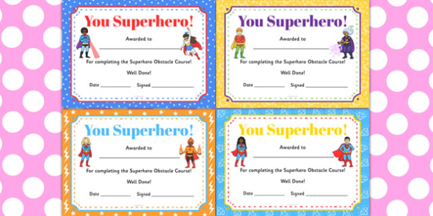 Superhero Obstacle Course Certificates - superhero, obstacle course