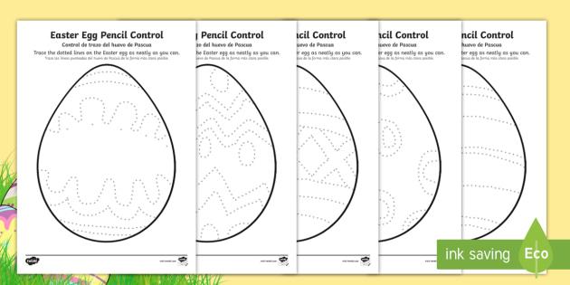 Easter Egg Pencil Control Worksheets English/Spanish - EAL, Easter