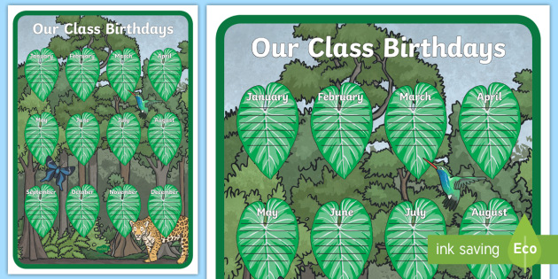 Jungle Themed Our Birthday Chart Display Poster