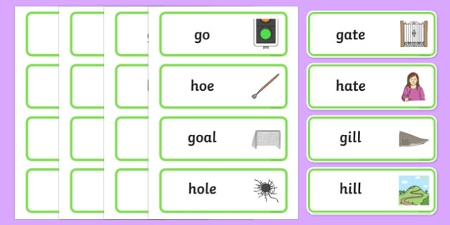 'g' and 'h' Minimal Pair Word Cards