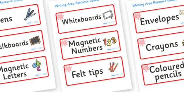 Red Themed Editable Writing Area Resource Labels - Themed writing resource labels, literacy area labels, writing area resources, Label template, Resource Label, Name Labels, Editable Labels, Drawer Labels, KS1 Labels, Foundation Labels, Foundation St