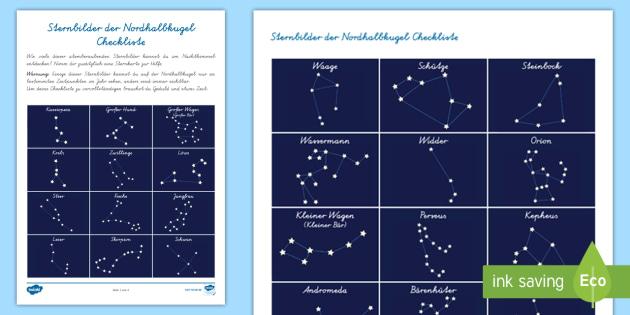 Sternbilder der Nordhalbkugel Checkliste - Sterne, Sternzeichen