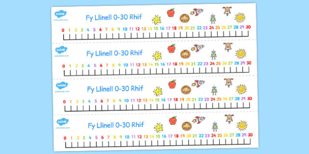 Number Line 0-30 Welsh - welsh, number, line, 0-30, numbers