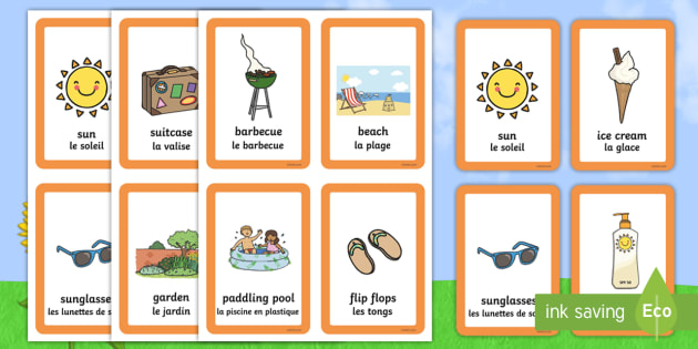 summer matching cards english french summer pairs matching game games. Black Bedroom Furniture Sets. Home Design Ideas