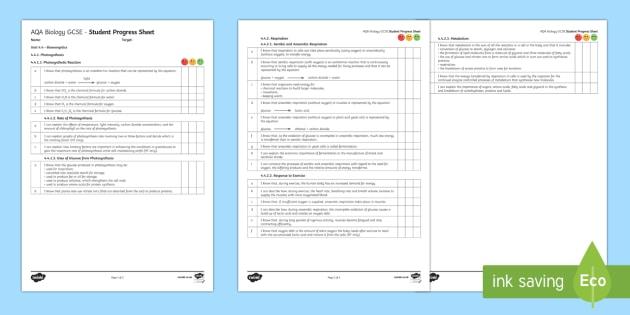 AQA Biology Unit 4.4 Bioenergetics Student Progress Sheet - Student Progress Sheets, AQA, RAG sheet, Unit 4.4 Bioenergetics