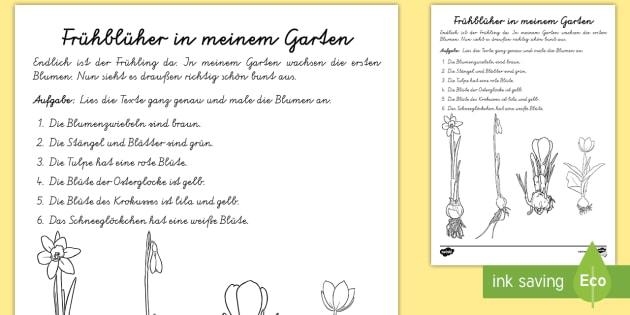 Fr 252 Hbl 252 Her In Meinem Garten Arbeitsblatt Lesen Und Malen