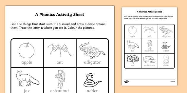 Phonics Worksheet A Teacher Made