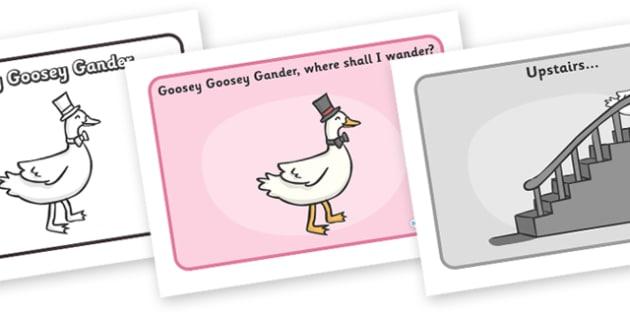Goosey Goosey Gander Sequencing - Goosey Goosey Gander, nursery rhyme, rhyme, rhyming, nursery rhyme story, nursery rhymes, Goosey Goosey Gander resources