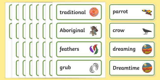 Aboriginal Dreamtime How the Birds Got Their Colours Word Cards-Australia