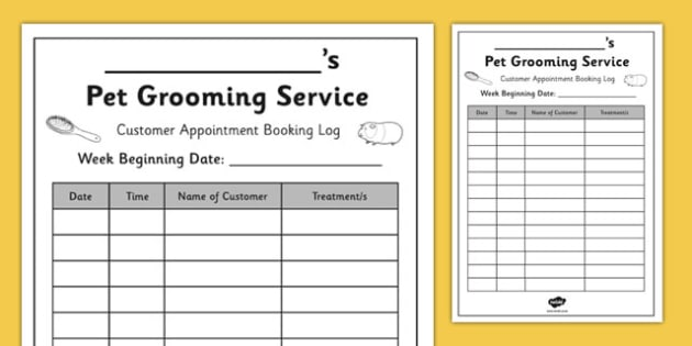 Pet Groomers Booking Form Pet Groomers Role Play Booking
