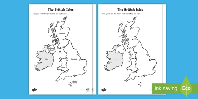 Map Of England For Ks1.Free The British Isles Seaside Map Worksheet