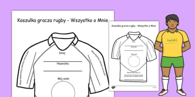 Koszulka gracza rugby Wszystko o Mnie po polsku - dzieci , Polish