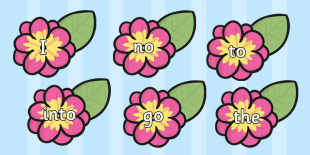 Phase 2 Tricky Words on Flowers - phase 2, tricky words, flowers, phase