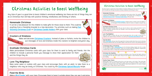 Christmas Activities To Boost Wellbeing Adult Guidance