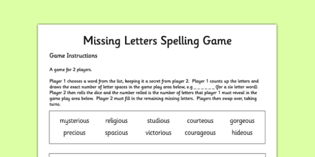 Missing Letters Spelling Game Words Ending in -ious and -eous