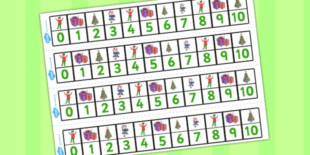 Elf Themed Number Lines 0-10 - number lines, elf, 0-10, number