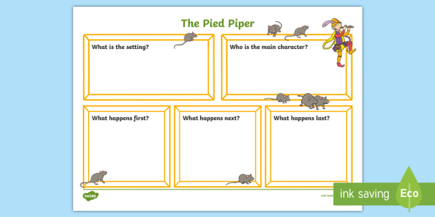 The Pied Piper Book Review Writing Frame - review, writing, frame
