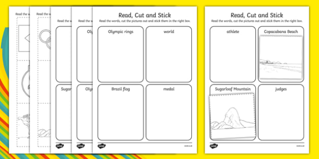 Rio Olympics Read Cut And Stick Activity - sport event, rio, 2016, ks1, ks2, eyfs