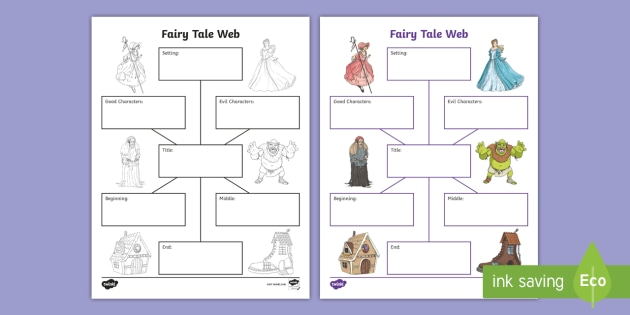 NEW Fairy Tale Web Worksheet Graphic Organizer Summary