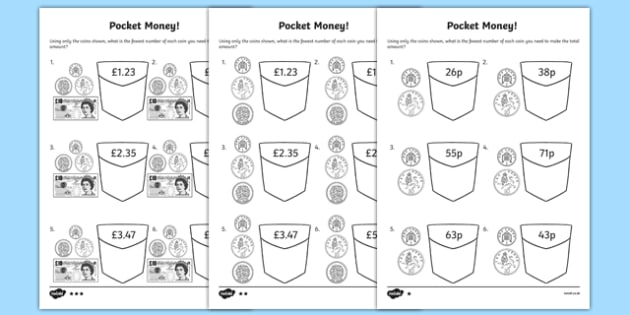 British Pocket Money Activity Sheet Pack, worksheet